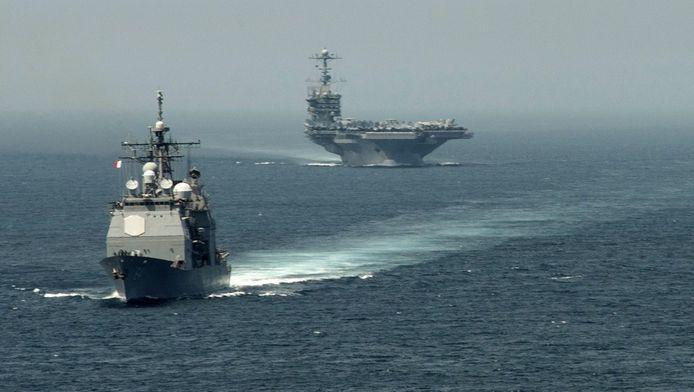 Amerikaanse oorlogsschepen in de Middellandse Zee.
