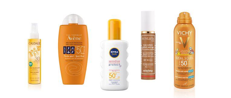Vijf specialistische zonnebrandcrèmes:  Caudalie Milky Sun Spray SPF 30 (€30) - Zonder schadelijke filters die het maritieme milieu verwoesten.  Avène Sport Fluid 50+, (€20) - Waterbestendig én zweetbestendig en dus ideaal voor zomersporters.  Nivea Sun Sensitive Immediate Protect SPF 50+, (€20) - Zonder parfum, speciaal voor de supergevoelige huid.  Sisley Sunleya Age minimizing global suncare SPF 50+, (€189) - Gespecialiseerd in de strijd tegen pigmentvlekken.  Vichy Ideal Soleil Anti-Zand Spray Kinderen SPF50+, (€20) - Geen irritant plakkende zandkorrels meer op de net ingesmeerde huid. Beeld Volkskrant