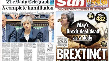 """""""Complete vernedering"""": Britse kranten snoeihard voor May en haar """"historisch grote nederlaag"""""""