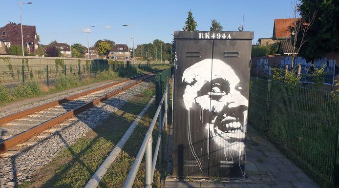 Deze graffiti bij de Ponlijn bij de Roethof-rotonde in Amersfoort is inmiddels weggehaald.