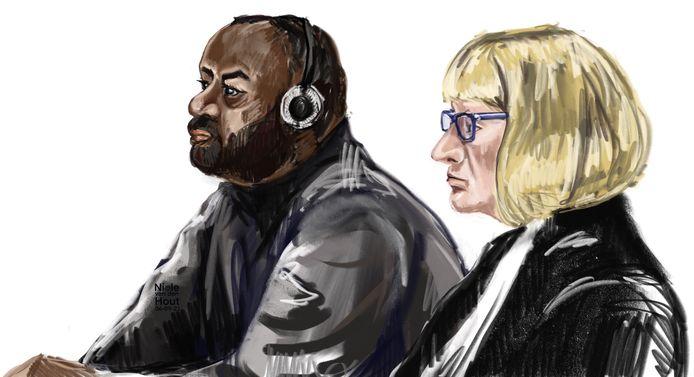 Rechtbanktekening van I.D. in de rechtbank van Den Haag. Hij wordt verdacht van de moord op zijn vrouw in Ter Aar in mei 2020.