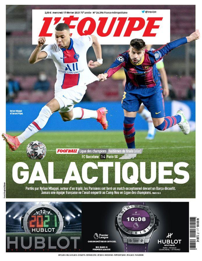 De voorpagina van L'Équipe vandaag.