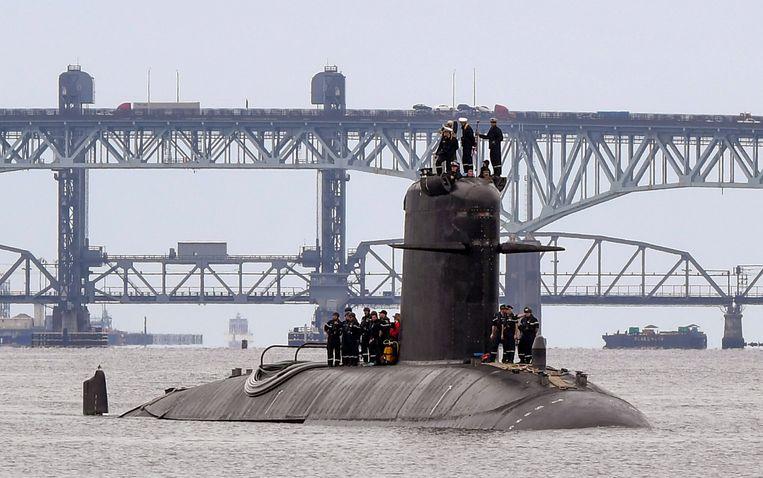 Een Franse onderzeeër eerder deze maand op de Britse rivier de Thames. Beeld AP