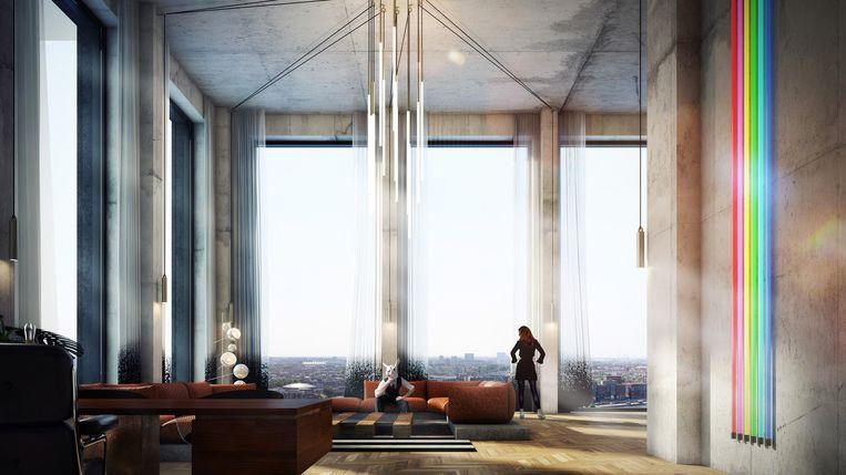 Zo komt The Loft eruit te zien, op de zestiende verdieping. Beeld TANK Interior Design