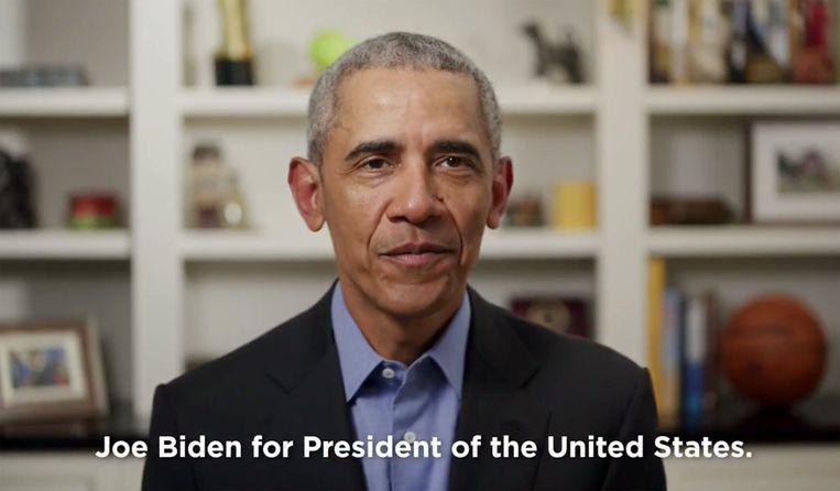 Obama verklaart zijn vicepresident Joe Biden zijn steun in de race naar het presidentschap. Beeld Photo News