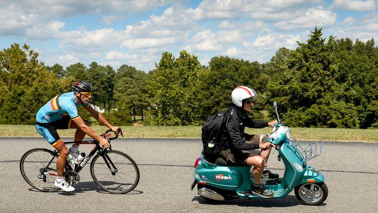 Philippe Gilbert op training voor het WK wielrennen in Richmond, Virginia. Beeld BELGA