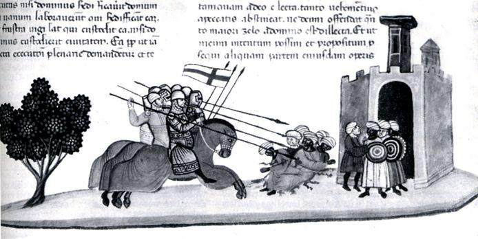 Kruisvaarders in gevecht met 'ongelovigen'.