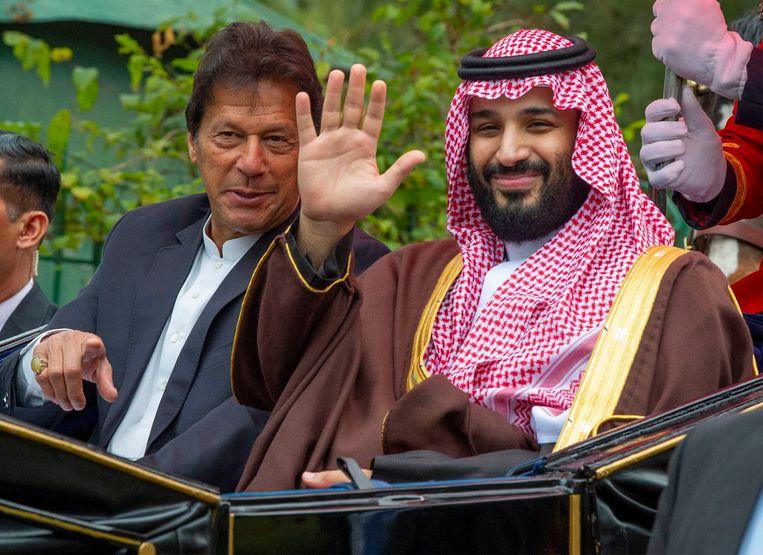 Mohammed bin Salman en Pakistaans premier Imran Khan. Beeld AFP