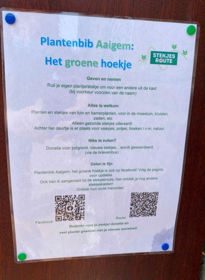 De instructies op de plantenbib in Aaigem zijn duidelijk én verwijzen naar gelijkaardige initiatieven in de buurt.