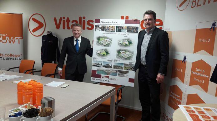 Persco: Wethouder Paul de Beer en Rob Neutelings (Raad van Bestuur ROC West-Brabant) presenteren de plannen.
