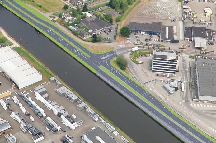 Bij de NCB-laan in Veghel wordt het aantal rijstroken van de weg verdubbeld. Hier komen verkeerslichten te staan.