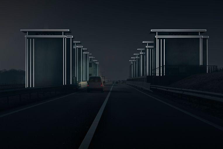'Lichtpoort' op de Afsluitdijk. Beeld RV