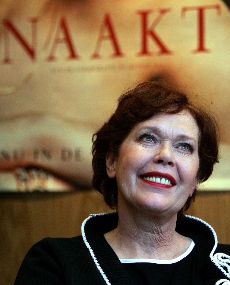 Actrice Sylvia Kristel tijdens de presentatie van haar boek 'Naakt' bij de Bezige Bij in Amsterdam, 23 februari 2007. Beeld null