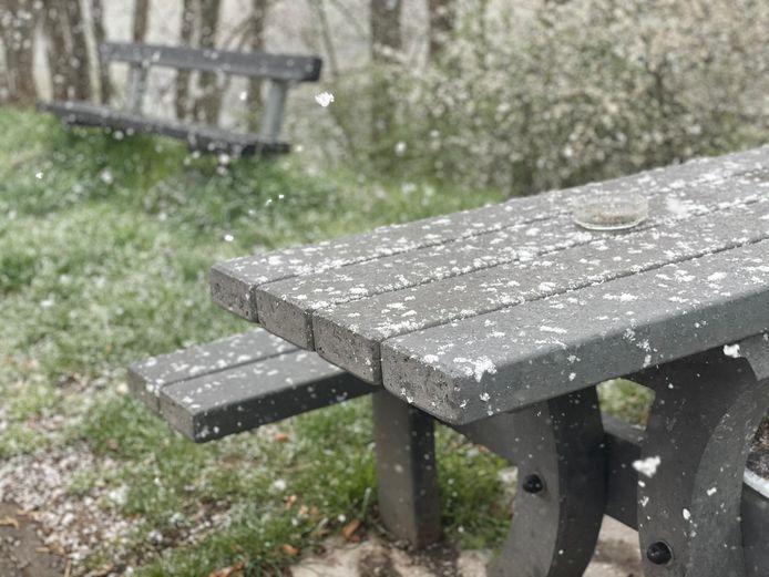 Daar viel eveneens smeltende sneeuw naar beneden.
