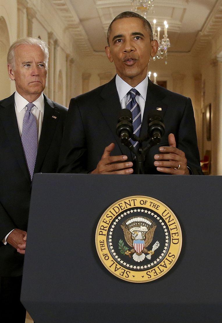 Obama tijdens zijn speech, dinsdagochtend. Beeld reuters