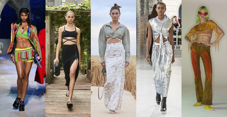 Vanaf links: Versace, Michael Kors, Jacquemus, Paco Rabanne, Charlotte Knowles Beeld Imaxtree
