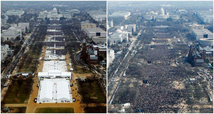 Links de foto van de National Mall bij de inauguratie van Donald Trump vorige week vrijdag, rechts bij de inauguratie van Barack Obama in 2009. Trumps woordvoerder hield vol dat er meer volk was bij de inauguratie van Trump.