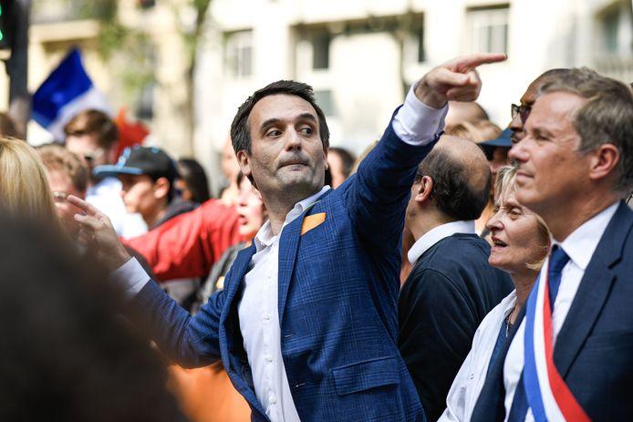 Florian Philippot lors d'une manifestation contre les passeports sanitaires à Paris, le 17 juillet 2021.