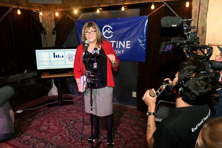 Christine Hallquist moet het in november opnemen tegen zittend gouverneur Phil Scott, een Republikein. Beeld REUTERS