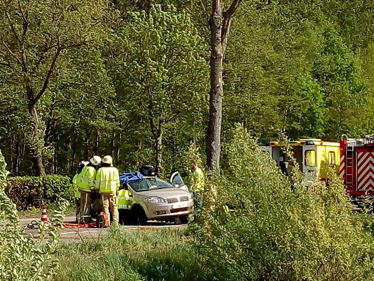 Brandweerpost Hasselt kwam ter plaatse om het slachtoffer te bevrijden