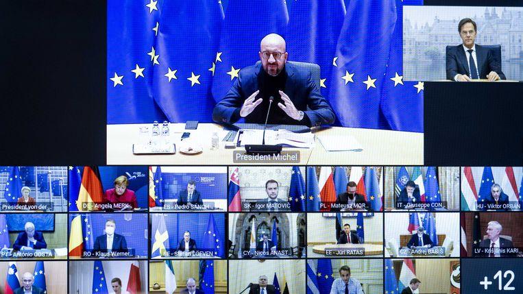 Minister-president Mark Rutte tijdens een videoconferentie in oktober 2020 met leiders van de Europese Unie over de aanpak van het coronavirus. De Europese Commissie kondigde nieuwe plannen aan om de samenwerking tussen de landen te versterken.  Beeld ANP