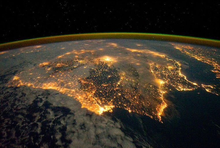 Spanje en Portugal gezien vanuit het Internationaal Ruimtestation (ISS). Beeld NASA