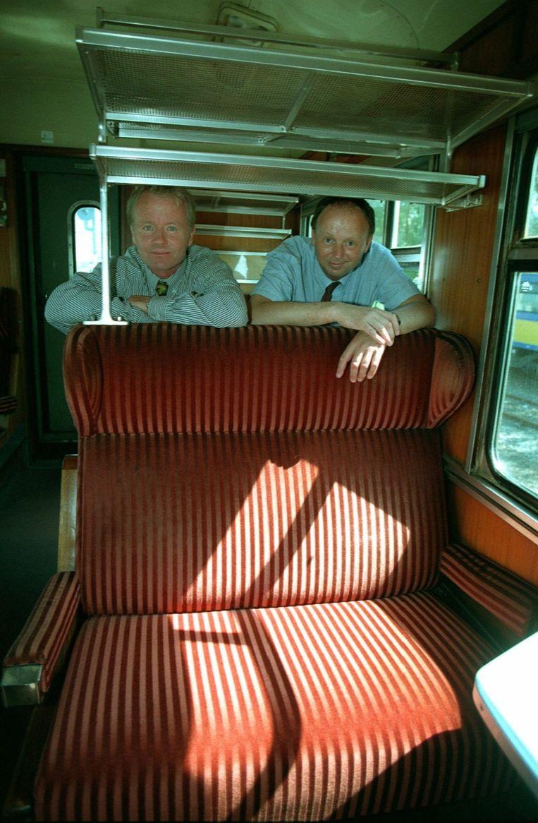 Karel Lovers (links) in september 1996, toen hij samen met Peter Sul (rechts) Lovers Rail begon. Twee jaar later verkocht het duo het bedrijf aan het Franse CGEA Transport, dat de verbinding tussen Amsterdam en IJmuiden al snel staakte. Beeld anp