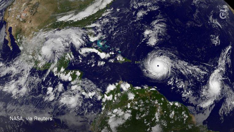 Satellietfoto van de orkaan Irma op 5 september 2017 Beeld NASA via Reuters