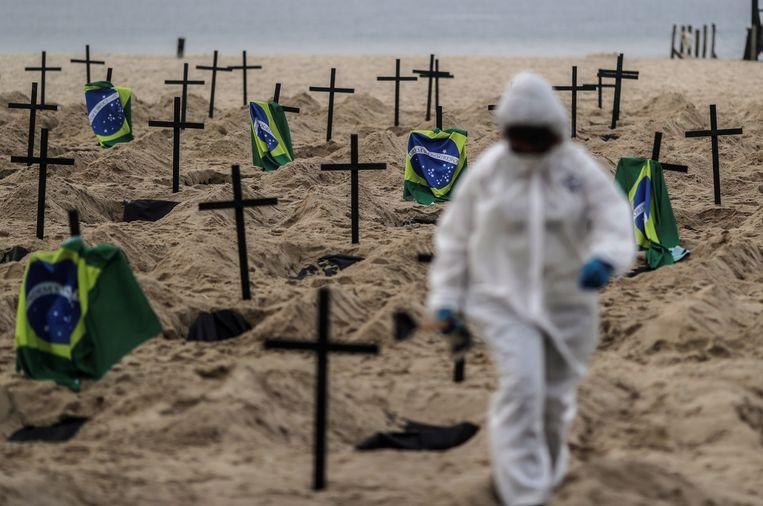 Brazilië is na de Verenigde Staten het zwaarst getroffen door het nieuwe coronavirus. Beeld EPA