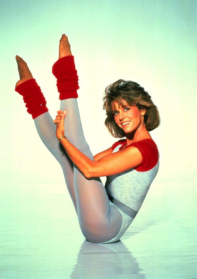 Jane Fonda in 1986, als koningin van de fitnessvideo.  Beeld BELGAIMAGE