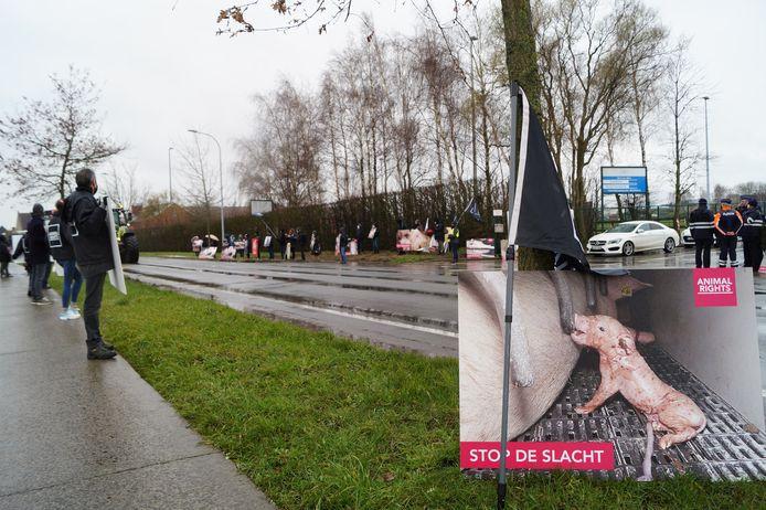 Animal Rights voerde op 16 maart nog actie tegen de uitbreidingsplannen aan het slachthuis.