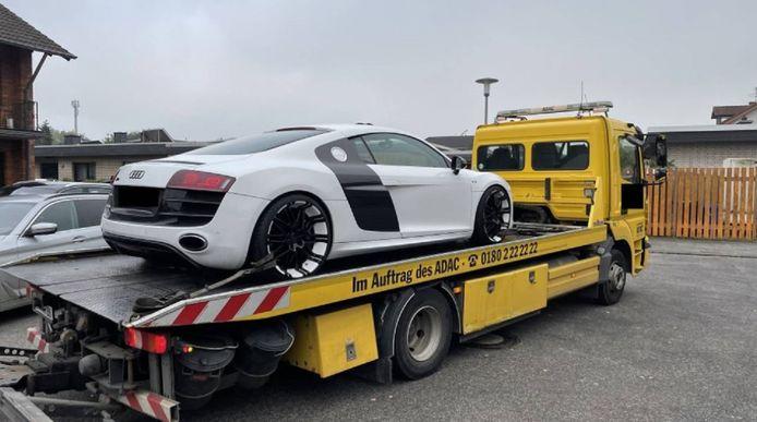 De in beslag genomen Audi R8.