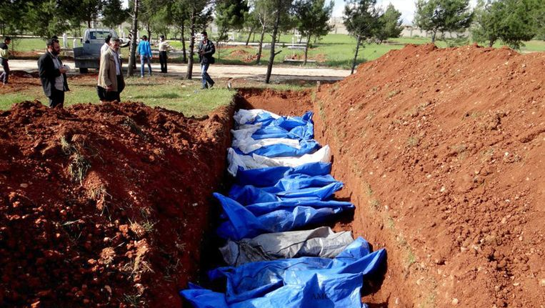 Massagraf in Aleppo Beeld ap