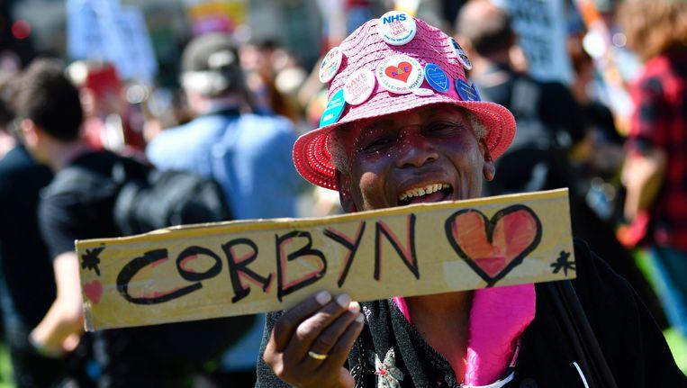 Aanhangers van Labour demonstreerden gisteren in de Britse hoofdstad Beeld AFP