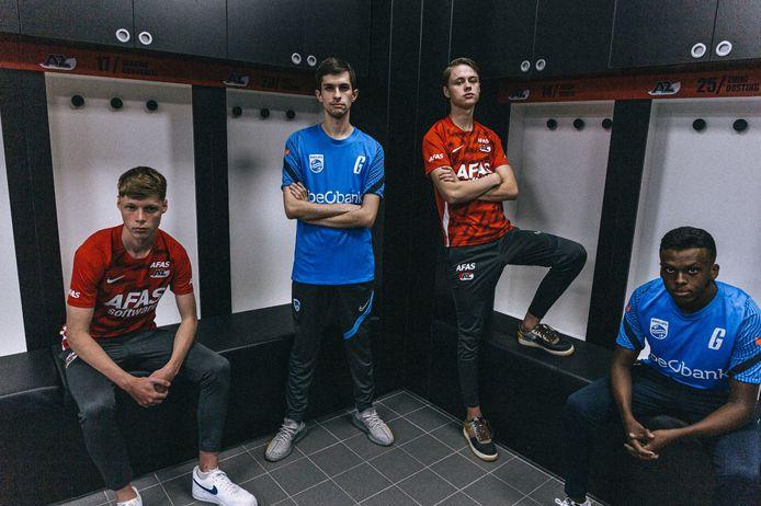 AZ en KRC Genk slaan de handen ineen op het gebied van esports. Gilles Bernard (2e van links), oorspronkelijk FIFA-speler bij Genk, speelt komend seizoen voor AZ in de eDivisie.