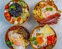 Vier verschillende versies van de Spaanse Kapsalon van mama Carmen, met een vegetarische variant.