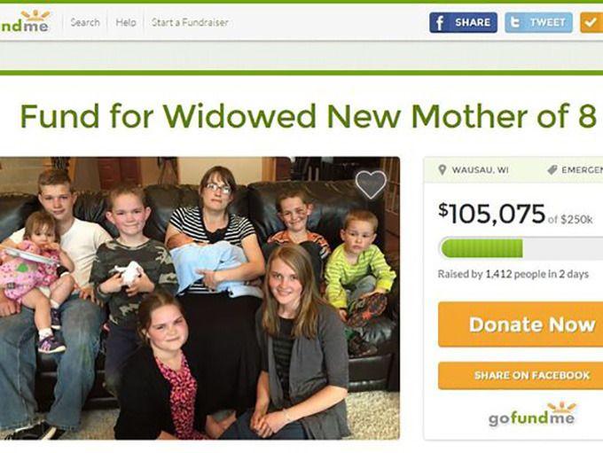 Een screenshot van de GoFundMe-site, opgezet om het getroffen gezin te helpen.