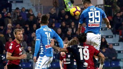 Napoli en ingevallen Mertens pas in absolute slotfase voorbij Cagliari: Milik zorgt met late vrijschop voor beslissende treffer