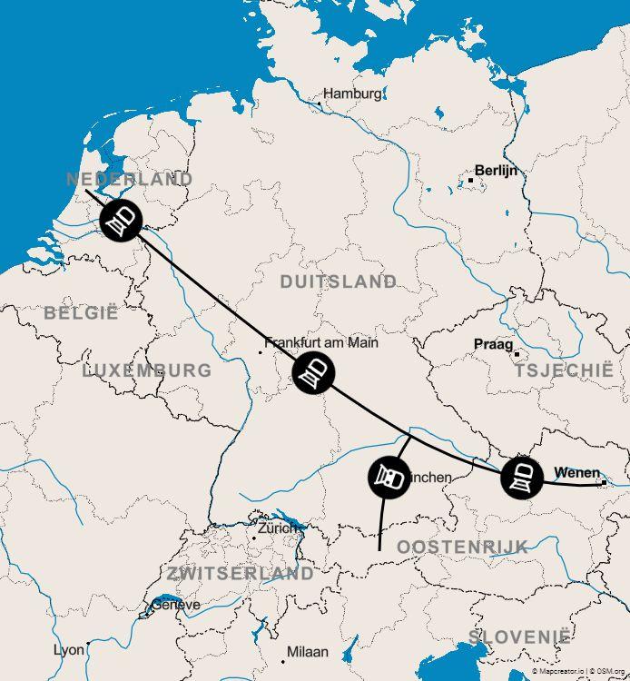 De routekaart van de Nightjet.