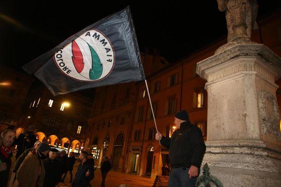 Leden van de Italiaanse fascistische organisatie Forza Nuova tijdens een demonstratie in Bologna in 2018.