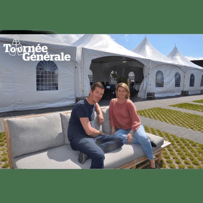 Kevin en Barbara van restaurant De Bakermat in Ninove lieten een tent plaatsen in de tuin van het restaurant.
