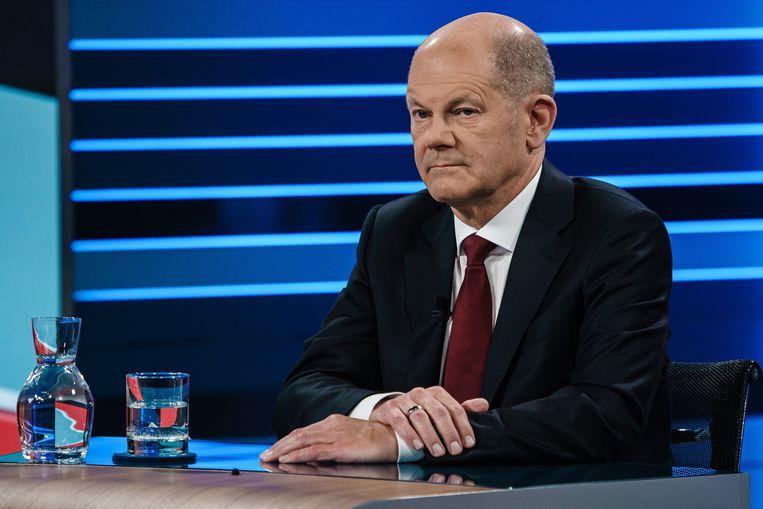 Olaf Scholz, de kanselierskandidaat van de sociaal-democratische SPD, tijdens het slotdebat van donderdagavond Beeld EPA