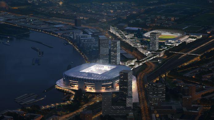 Het nieuwe Feyenoord Stadion, in het donker gehuld. Met in de verte de eveneens fraai verlichte Kuip, die een derde leven krijgt.