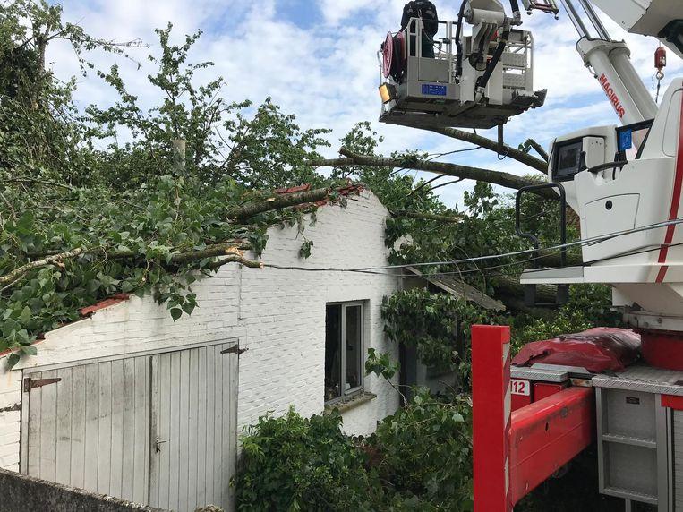 De boom viel ook op deze woning.