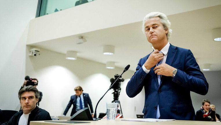 Geert Wilders in de rechtbank op Schiphol vorige maand Beeld anp