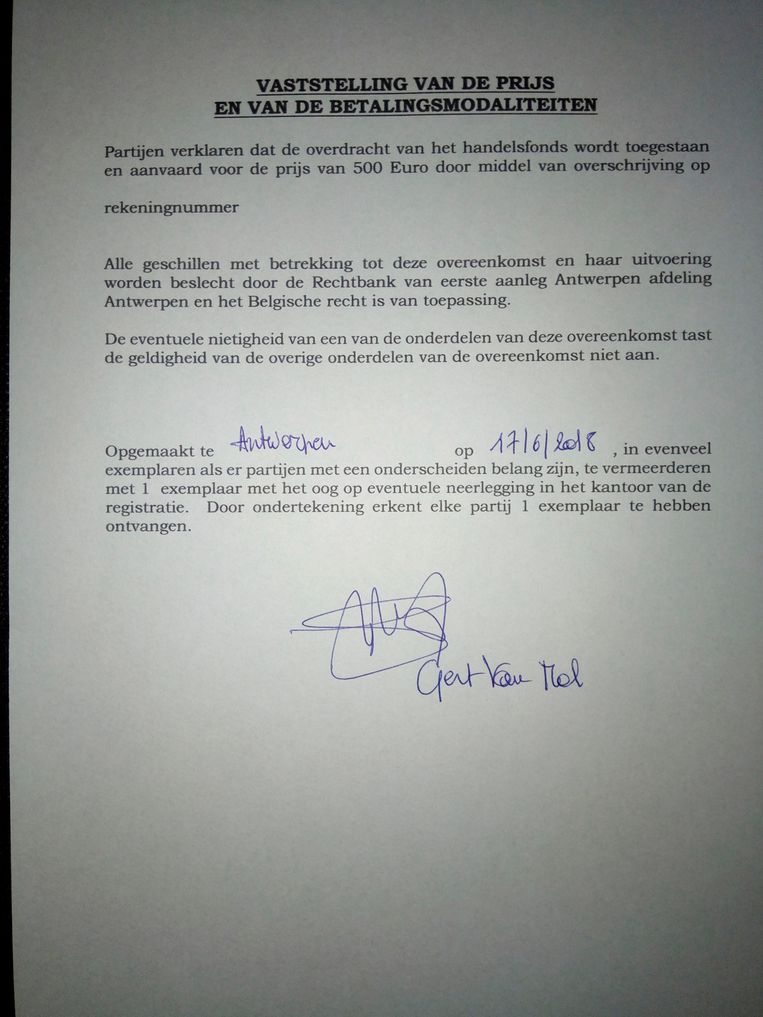 Pagina 1 van het contract tussen vzw 't Scheldt en Gert Van Mol. Beeld RV
