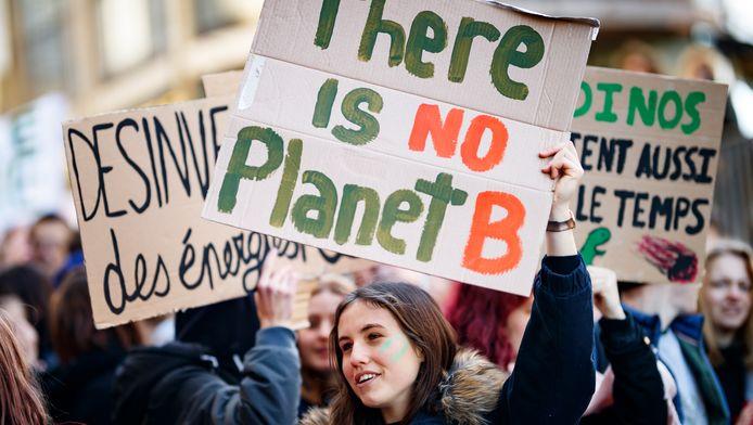 Manifestation des étudiants pour le climat le 18 janvier à Lausanne, en Suisse.