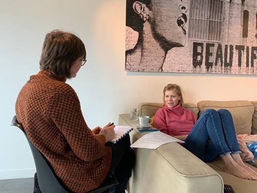 Eveline Coppin in gesprek met Annabel Vereecke op 12 maart 2020. Een vijftal weken later overleed Annabel.