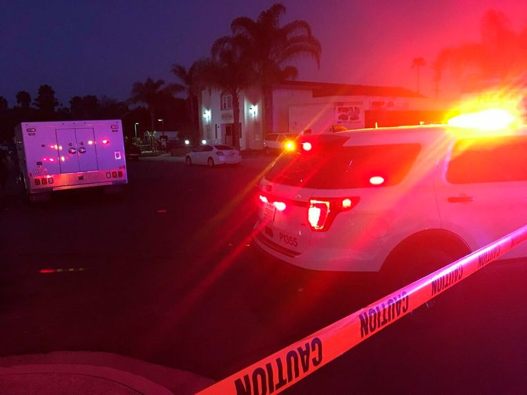 Politie is aanwezig bij het islamitisch centrum van Escondido, in het zuiden van Californië.