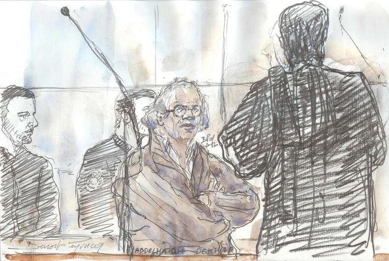 Een schets van de hoorzitting van Abdelhakim Dekhar (midden).  Beeld AFP